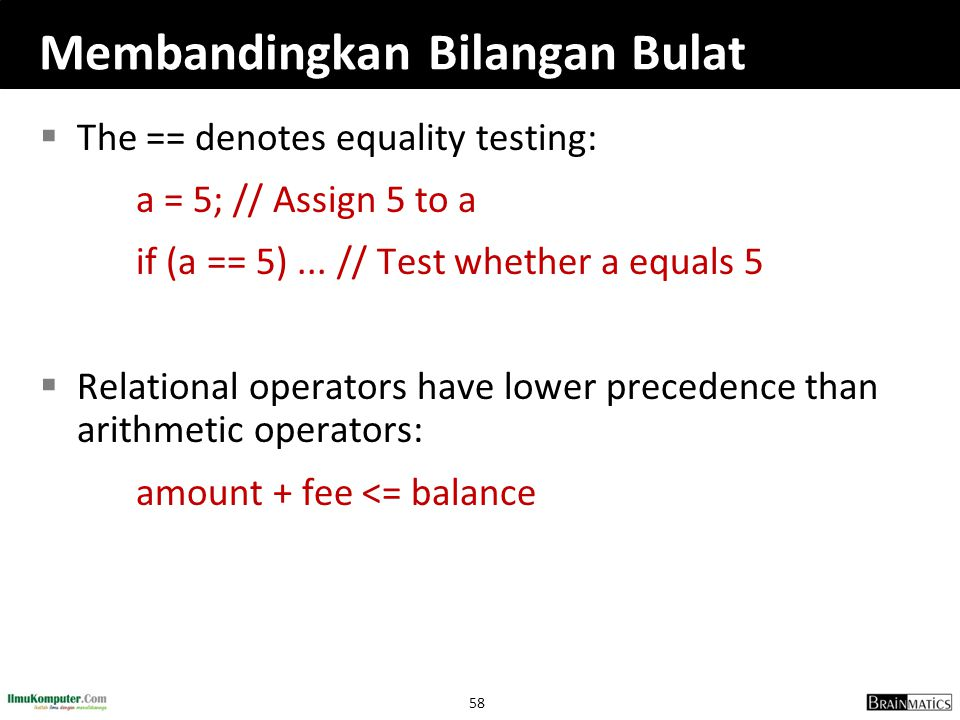 58 Membandingkan Bilangan Bulat  The == denotes equality testing: a = 5; // Assign 5 to a if (a == 5)... // Test whether a equals 5  Relational oper