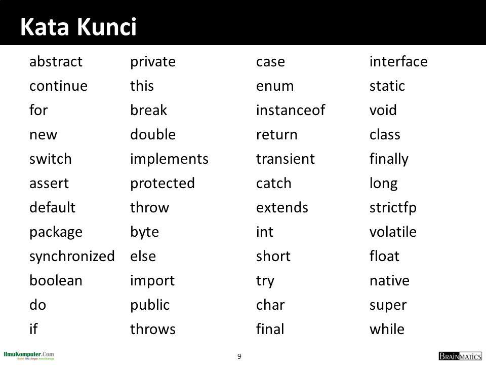 9 Kata Kunci abstractprivatecaseinterface continuethisenumstatic forbreakinstanceofvoid newdoublereturnclass switchimplementstransientfinally assertpr