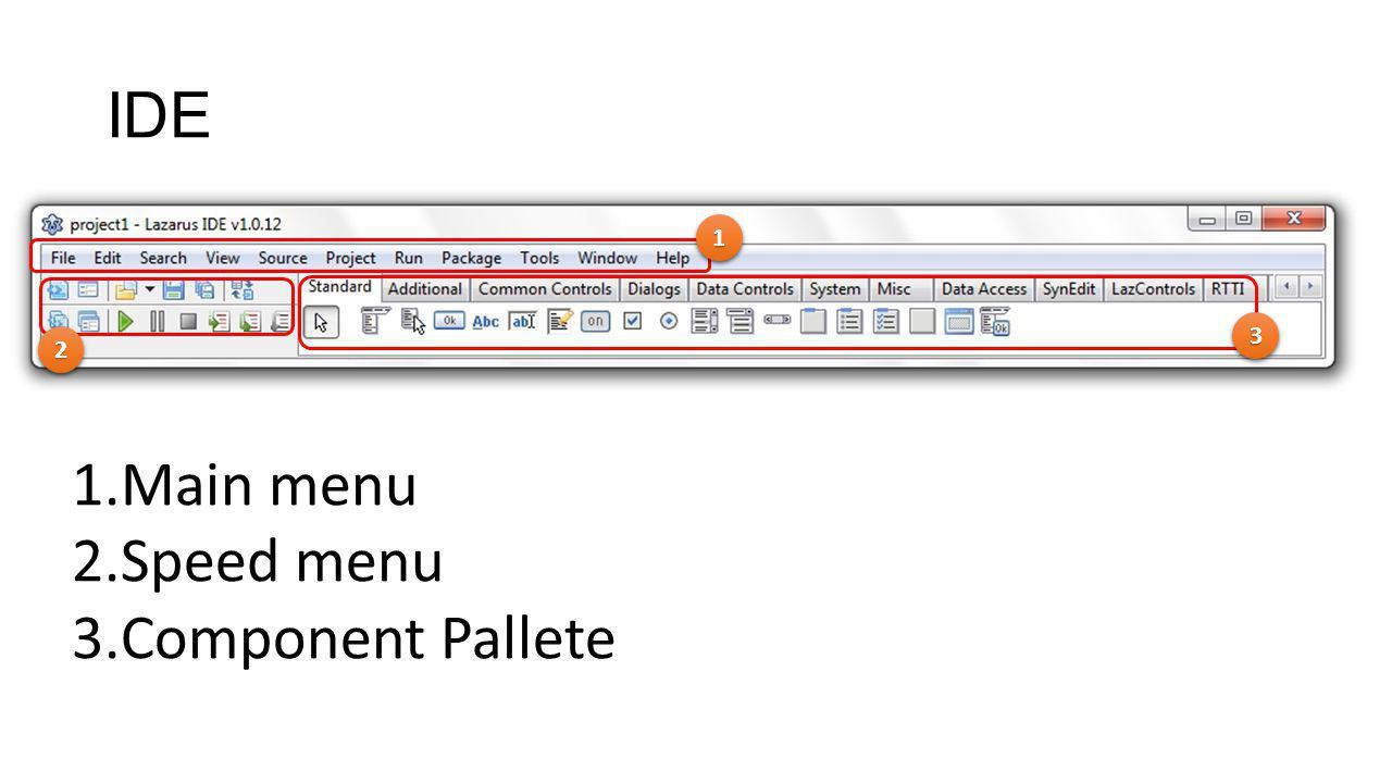 IDE 11 22 33 1.Main menu 2.Speed menu 3.Component Pallete