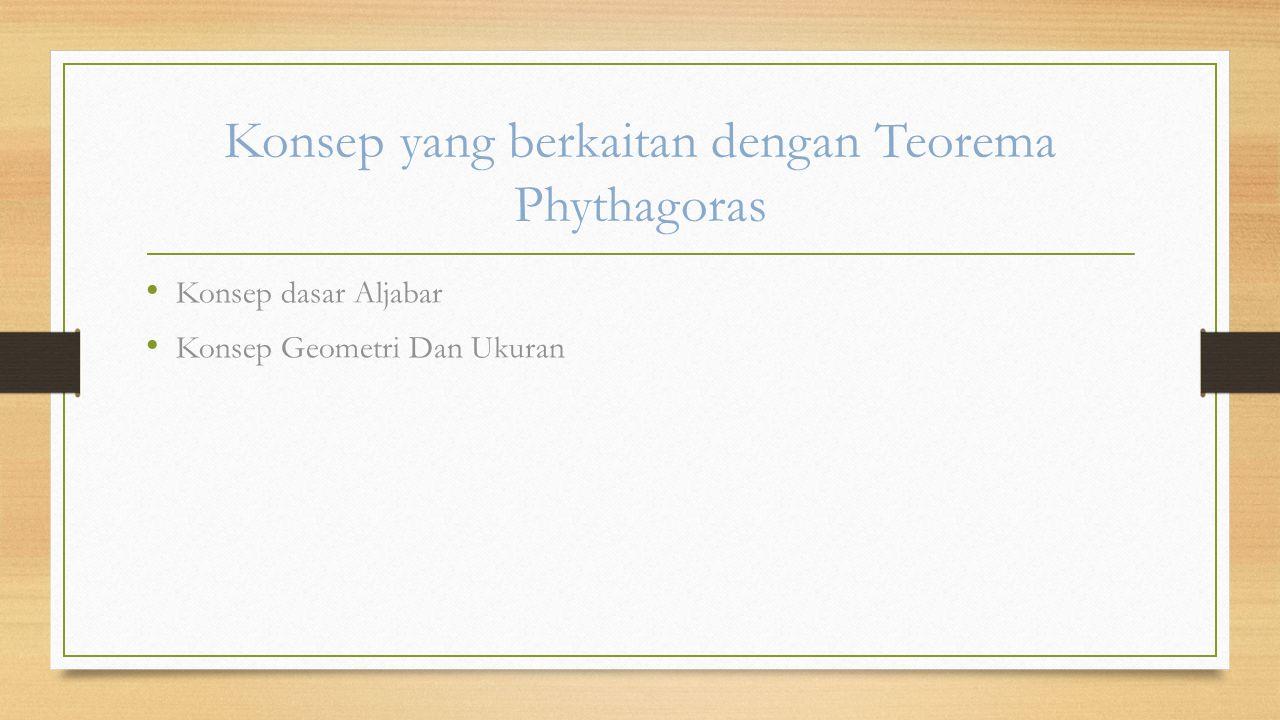 Konsep yang berkaitan dengan Teorema Phythagoras Konsep dasar Aljabar Konsep Geometri Dan Ukuran