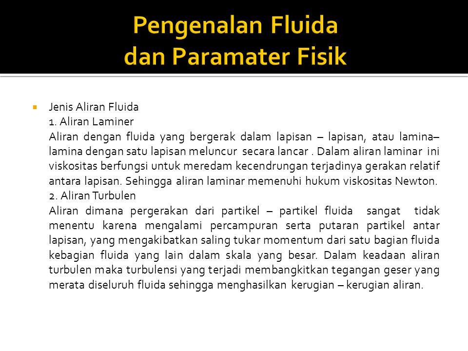  Jenis Aliran Fluida 1. Aliran Laminer Aliran dengan fluida yang bergerak dalam lapisan – lapisan, atau lamina– lamina dengan satu lapisan meluncur s