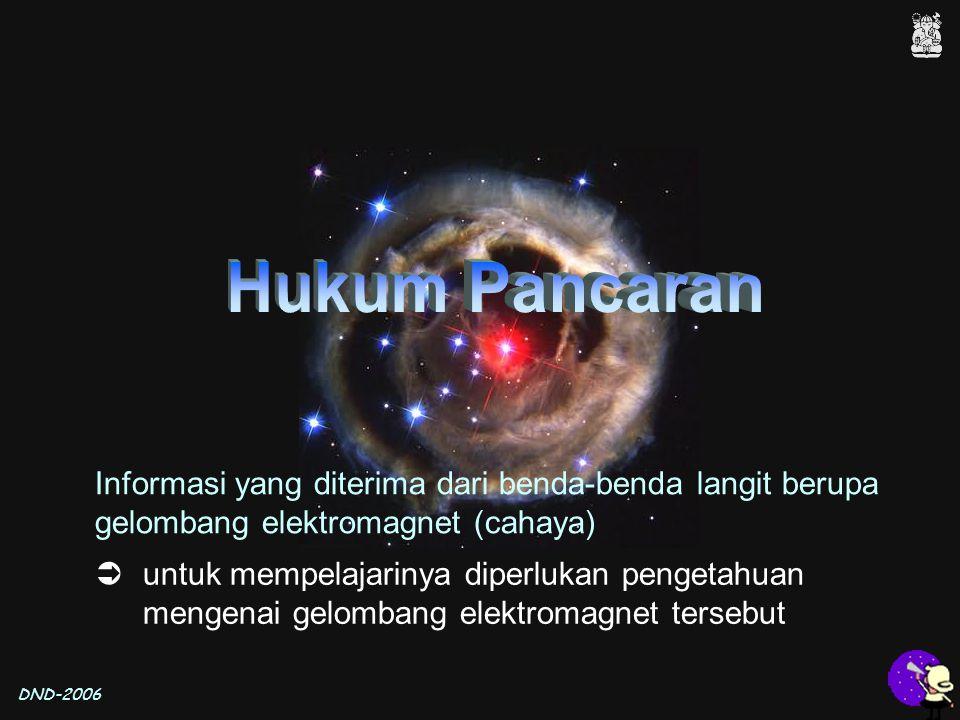 DND-2006 Informasi yang diterima dari benda-benda langit berupa gelombang elektromagnet (cahaya)  untuk mempelajarinya diperlukan pengetahuan mengena
