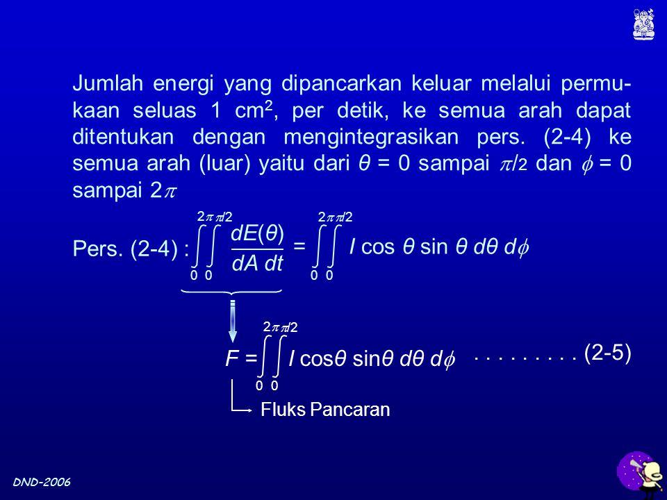 DND-2006 Jumlah energi yang dipancarkan keluar melalui permu- kaan seluas 1 cm 2, per detik, ke semua arah dapat ditentukan dengan mengintegrasikan pers.