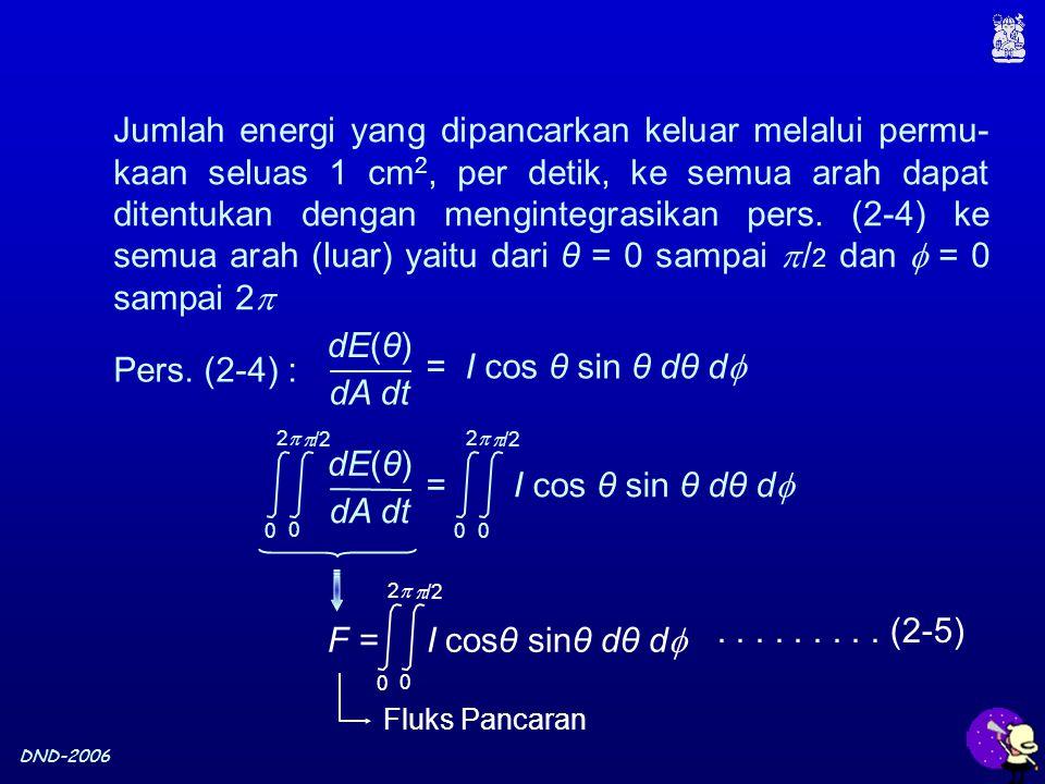 DND-2006 Jumlah energi yang dipancarkan keluar melalui permu- kaan seluas 1 cm 2, per detik, ke semua arah dapat ditentukan dengan mengintegrasikan pe
