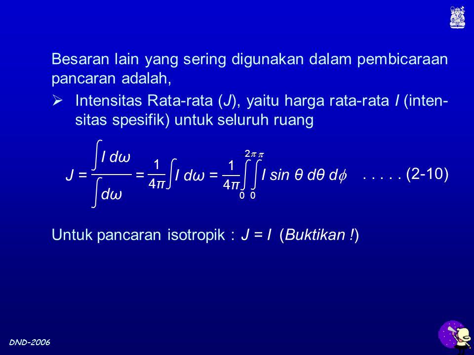 DND-2006 Besaran lain yang sering digunakan dalam pembicaraan pancaran adalah,..... (2-10) Untuk pancaran isotropik :J = I (Buktikan !)  Intensitas R