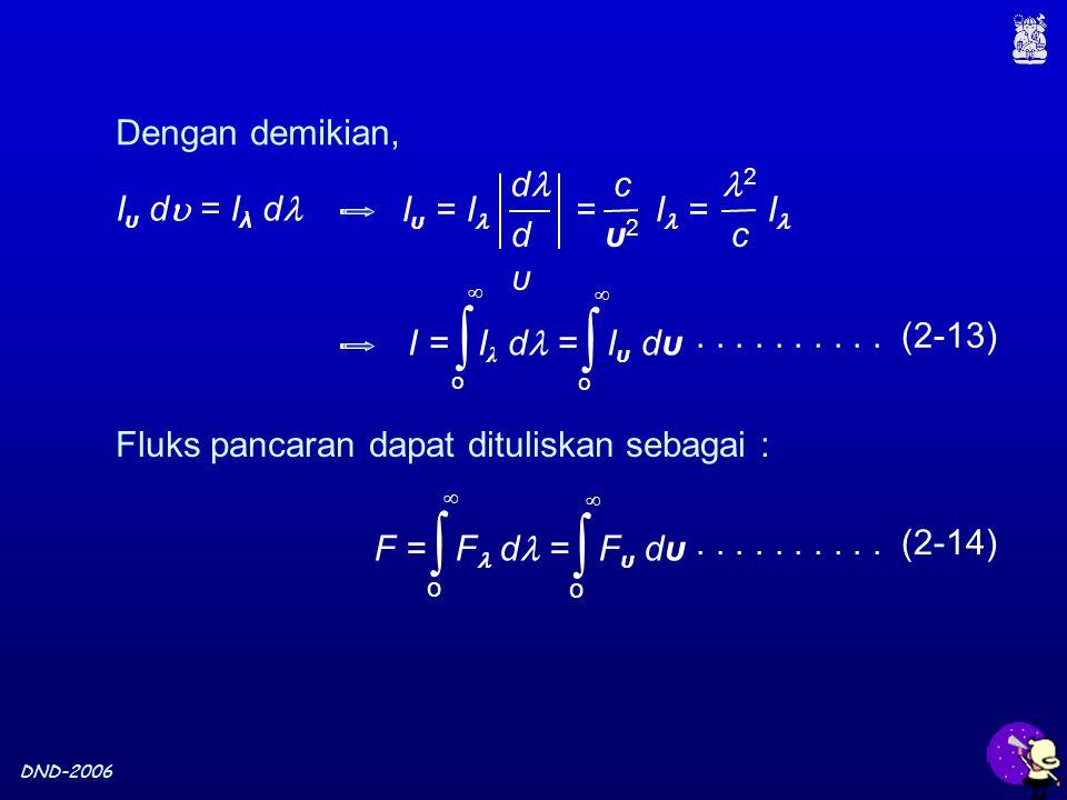 DND-2006 Dengan demikian, I υ d  = I λ d c υ2υ2 d dυdυ I υ = I = I = I 2 c Fluks pancaran dapat dituliskan sebagai : I = I λ d = I υ dυ ∫ o  ∫ o  F = F d = F υ dυ ∫ o  ∫ o ..........