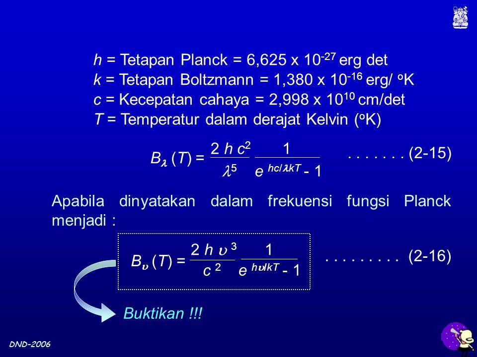 DND-2006 h = Tetapan Planck = 6,625 x 10 -27 erg det k = Tetapan Boltzmann = 1,380 x 10 -16 erg/ o K c = Kecepatan cahaya = 2,998 x 10 10 cm/det T = Temperatur dalam derajat Kelvin ( o K) Apabila dinyatakan dalam frekuensi fungsi Planck menjadi :.........