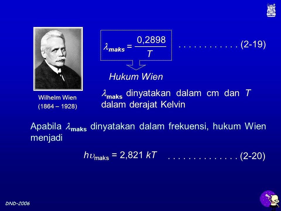 DND-2006............ (2-19) maks = 0,2898 T Hukum Wien maks dinyatakan dalam cm dan T dalam derajat Kelvin h  maks = 2,821 kT Apabila maks dinyatakan