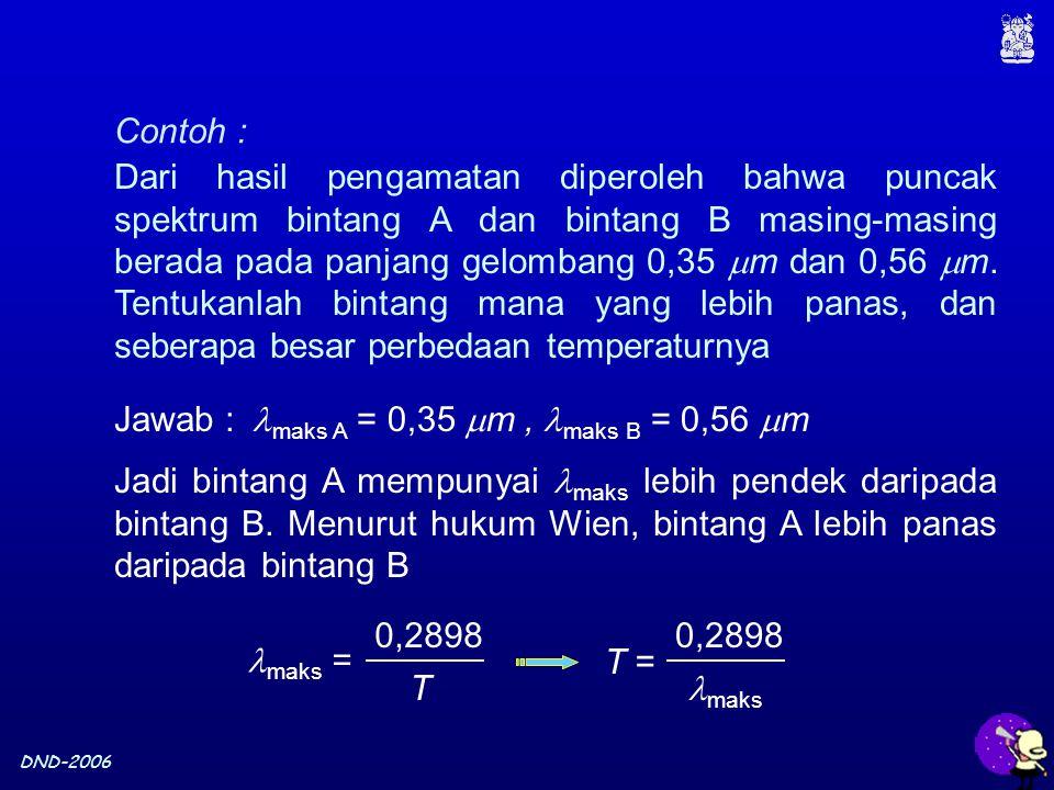 DND-2006 Contoh : Dari hasil pengamatan diperoleh bahwa puncak spektrum bintang A dan bintang B masing-masing berada pada panjang gelombang 0,35  m dan 0,56  m.