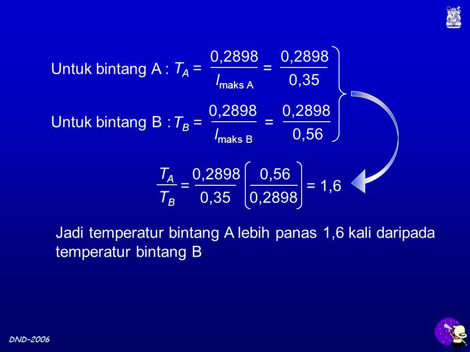 DND-2006 Untuk bintang A : Untuk bintang B : Jadi temperatur bintang A lebih panas 1,6 kali daripada temperatur bintang B T A = 0,2898 l maks A = 0,28