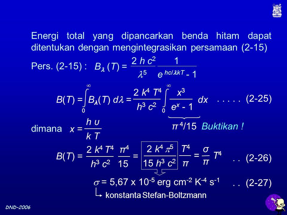 DND-2006 Energi total yang dipancarkan benda hitam dapat ditentukan dengan mengintegrasikan persamaan (2-15)..... (2-25) Buktikan ! B(T) = B λ (T) d =