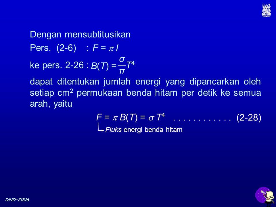 DND-2006 Dengan mensubtitusikan F =  B(T) =  T 4............