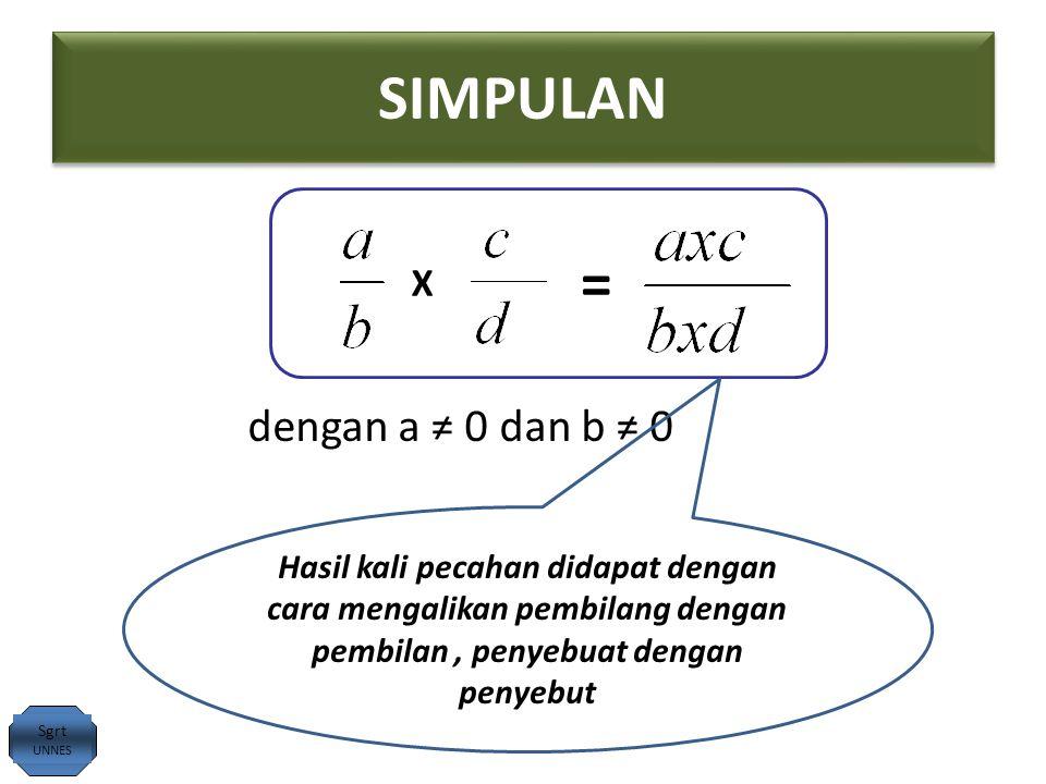 SIMPULAN X = dengan a ≠ 0 dan b ≠ 0 Sgrt UNNES Hasil kali pecahan didapat dengan cara mengalikan pembilang dengan pembilan, penyebuat dengan penyebut
