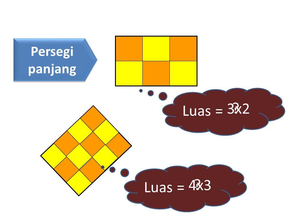 Persegi panjang Persegi panjang Luas = ? 3x2 Luas = ? 4x3