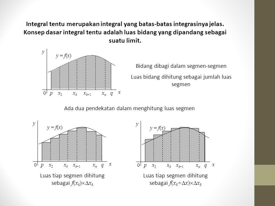 Integral tentu merupakan integral yang batas-batas integrasinya jelas. Konsep dasar integral tentu adalah luas bidang yang dipandang sebagai suatu lim