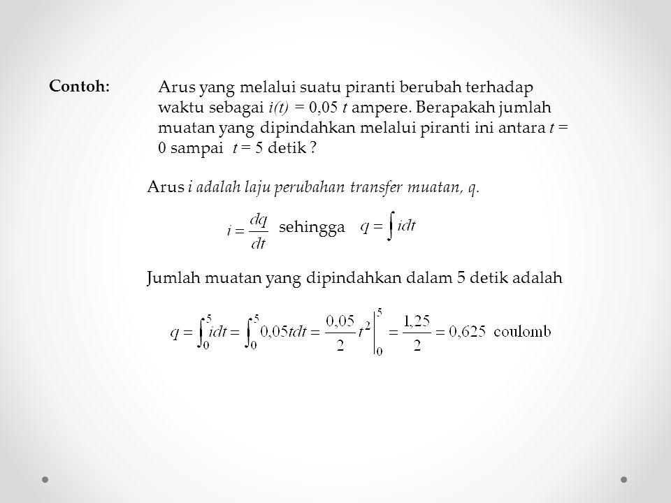 Arus yang melalui suatu piranti berubah terhadap waktu sebagai i(t) = 0,05 t ampere.