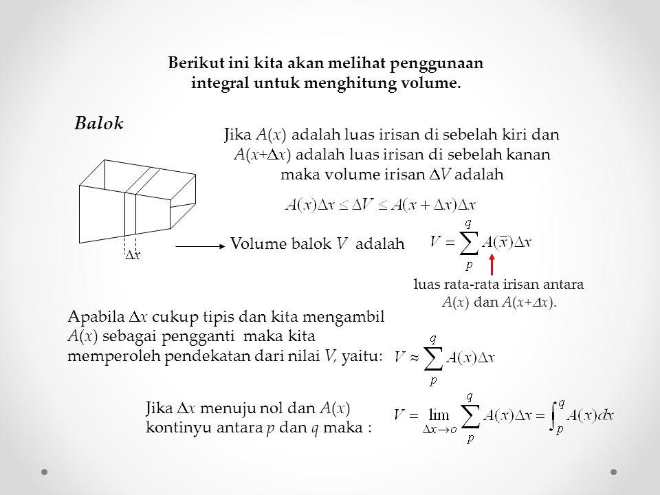 Berikut ini kita akan melihat penggunaan integral untuk menghitung volume.