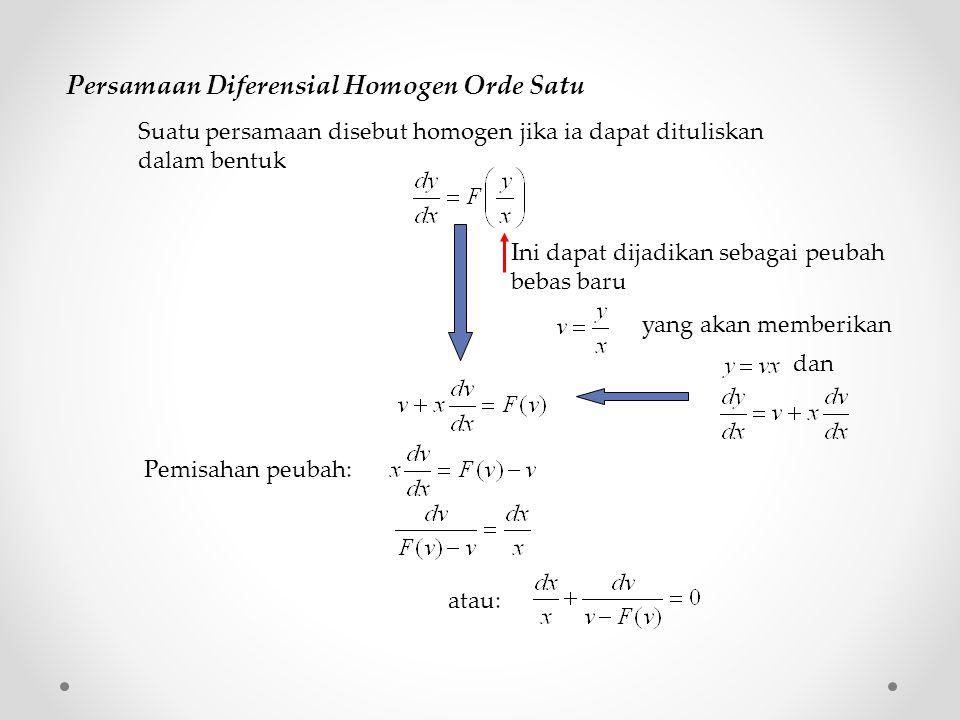 Persamaan Diferensial Homogen Orde Satu Suatu persamaan disebut homogen jika ia dapat dituliskan dalam bentuk Ini dapat dijadikan sebagai peubah bebas baru Pemisahan peubah: yang akan memberikan dan atau: