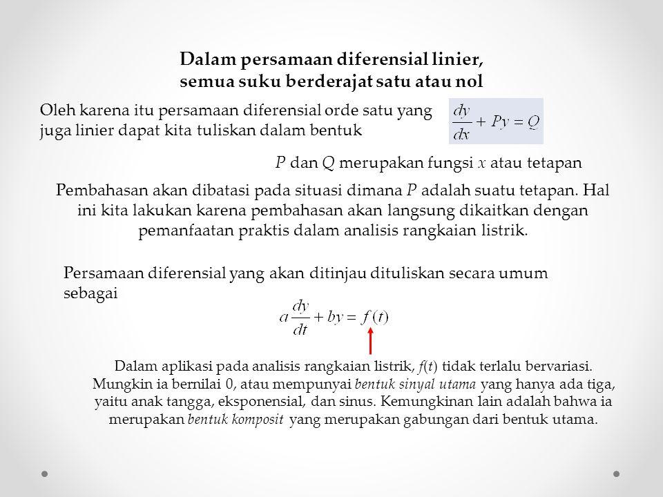 Dalam persamaan diferensial linier, semua suku berderajat satu atau nol P dan Q merupakan fungsi x atau tetapan Pembahasan akan dibatasi pada situasi dimana P adalah suatu tetapan.