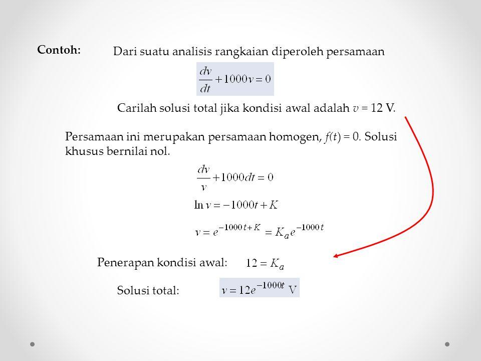 Dari suatu analisis rangkaian diperoleh persamaan Carilah solusi total jika kondisi awal adalah v = 12 V.