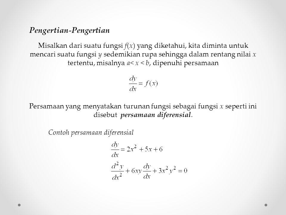 Misalkan dari suatu fungsi f(x) yang diketahui, kita diminta untuk mencari suatu fungsi y sedemikian rupa sehingga dalam rentang nilai x tertentu, misalnya a< x < b, dipenuhi persamaan Persamaan yang menyatakan turunan fungsi sebagai fungsi x seperti ini disebut persamaan diferensial.