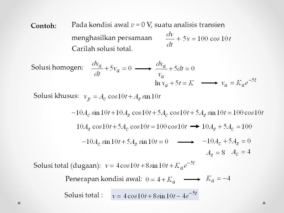 Contoh: Pada kondisi awal v = 0 V, suatu analisis transien menghasilkan persamaan Carilah solusi total.