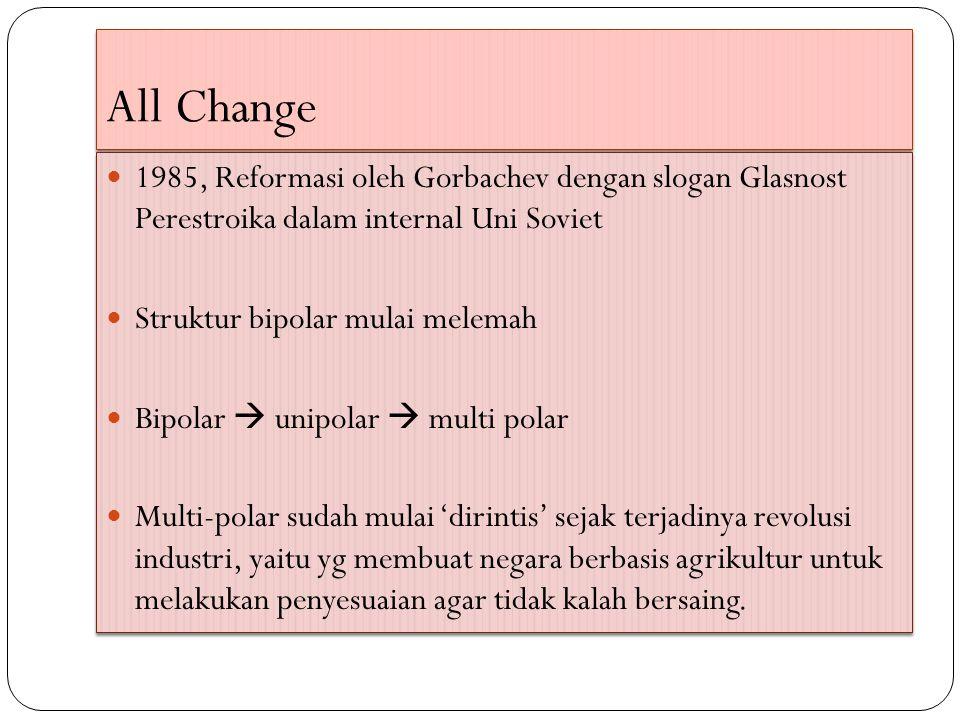 All Change 1985, Reformasi oleh Gorbachev dengan slogan Glasnost Perestroika dalam internal Uni Soviet Struktur bipolar mulai melemah Bipolar  unipolar  multi polar Multi-polar sudah mulai 'dirintis' sejak terjadinya revolusi industri, yaitu yg membuat negara berbasis agrikultur untuk melakukan penyesuaian agar tidak kalah bersaing.