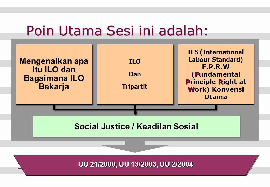Poin Utama Sesi ini adalah: Social Justice / Keadilan Sosial ILO Dan Tripartit ILO Dan Tripartit Mengenalkan apa itu ILO dan Bagaimana ILO Bekarja ILS