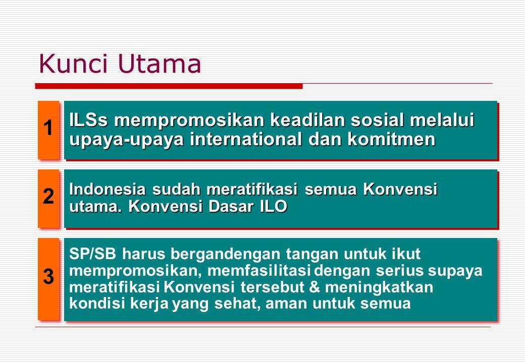 Kunci Utama ILSs mempromosikan keadilan sosial melalui upaya-upaya international dan komitmen Indonesia sudah meratifikasi semua Konvensi utama. Konve