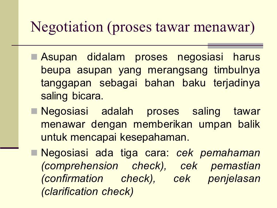 Negotiation (proses tawar menawar) Asupan didalam proses negosiasi harus beupa asupan yang merangsang timbulnya tanggapan sebagai bahan baku terjadinya saling bicara.