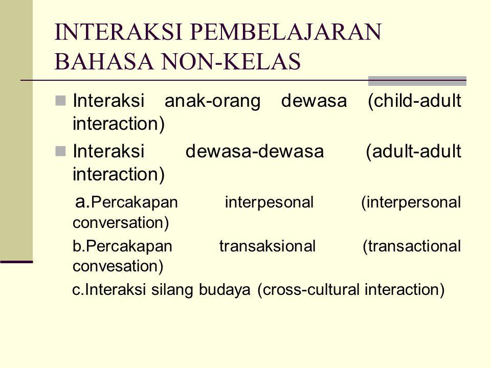 INTERAKSI PEMBELAJARAN BAHASA NON-KELAS Interaksi anak-orang dewasa (child-adult interaction) Interaksi dewasa-dewasa (adult-adult interaction) a.