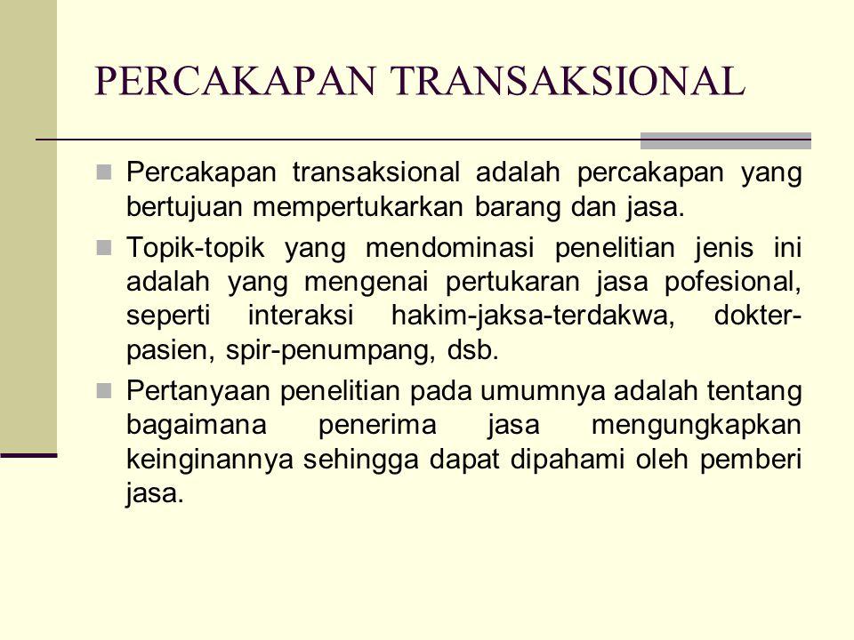 PERCAKAPAN TRANSAKSIONAL Percakapan transaksional adalah percakapan yang bertujuan mempertukarkan barang dan jasa.