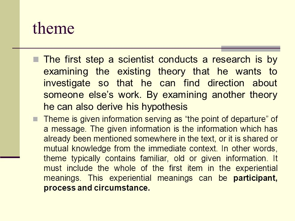 theme The first step a scientist conducts a research is by examining the existing theory that he wants to investigate so that he can find direction about someone else's work.