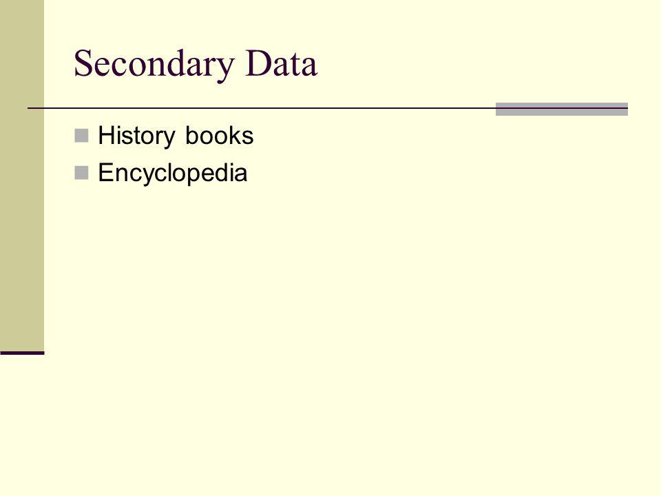 Secondary Data History books Encyclopedia