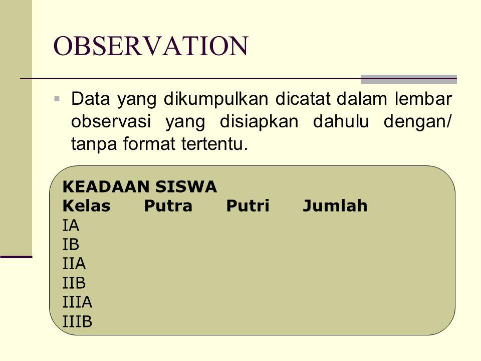 OBSERVATION  Data yang dikumpulkan dicatat dalam lembar observasi yang disiapkan dahulu dengan/ tanpa format tertentu.