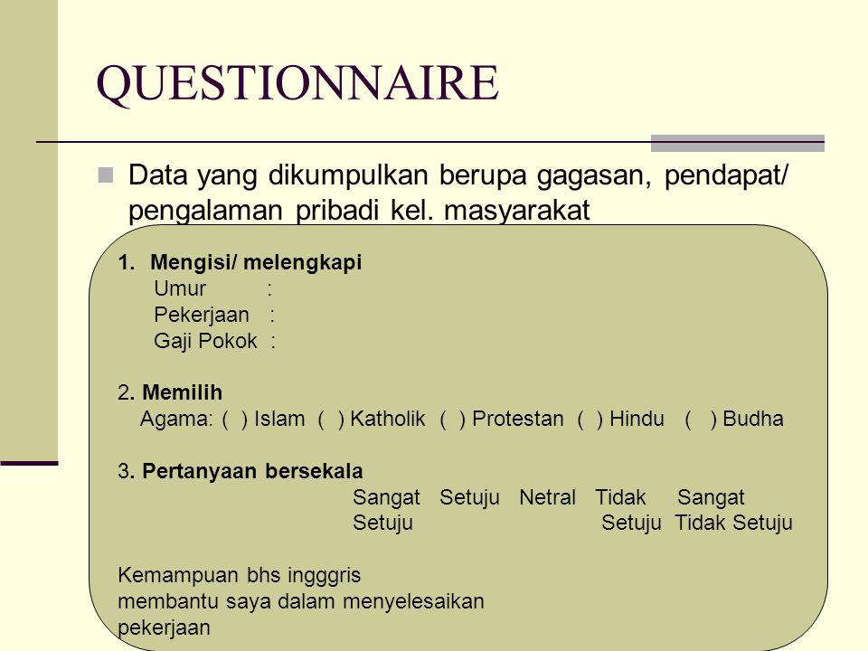 QUESTIONNAIRE Data yang dikumpulkan berupa gagasan, pendapat/ pengalaman pribadi kel.