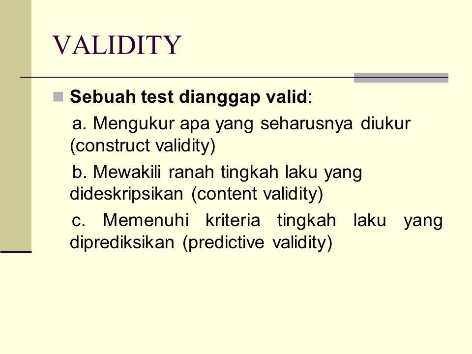 VALIDITY Sebuah test dianggap valid: a.Mengukur apa yang seharusnya diukur (construct validity) b.