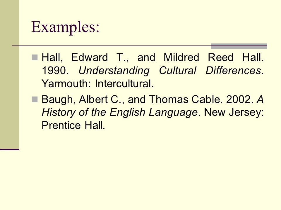 Examples: Hall, Edward T., and Mildred Reed Hall.1990.