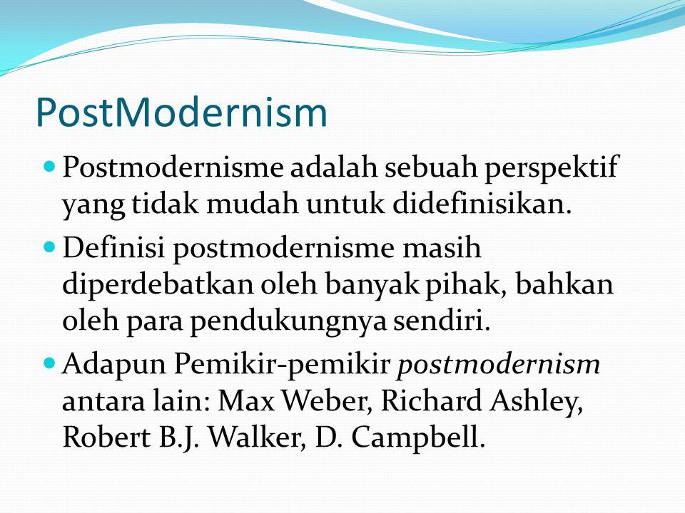 PostModernism Postmodernisme adalah sebuah perspektif yang tidak mudah untuk didefinisikan. Definisi postmodernisme masih diperdebatkan oleh banyak pi