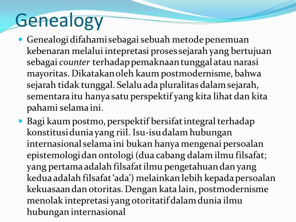 Genealogy Genealogi difahami sebagai sebuah metode penemuan kebenaran melalui intepretasi proses sejarah yang bertujuan sebagai counter terhadap pemaknaan tunggal atau narasi mayoritas.