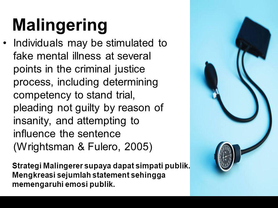 Malingering Individuals may be stimulated to fake mental illness at several points in the criminal justice process, including determining competency t