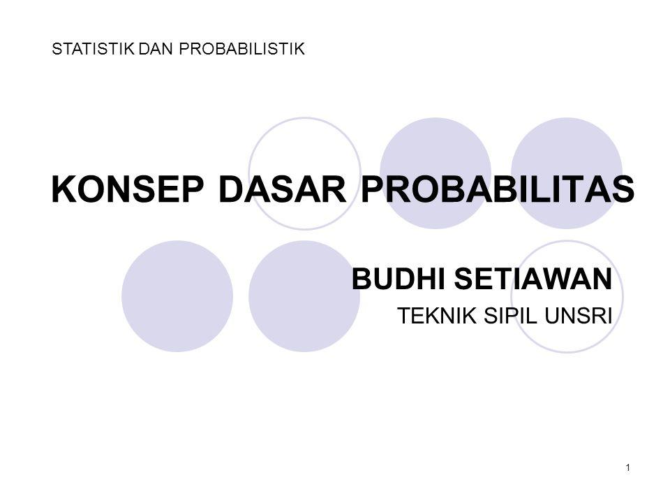 1 KONSEP DASAR PROBABILITAS BUDHI SETIAWAN TEKNIK SIPIL UNSRI STATISTIK DAN PROBABILISTIK