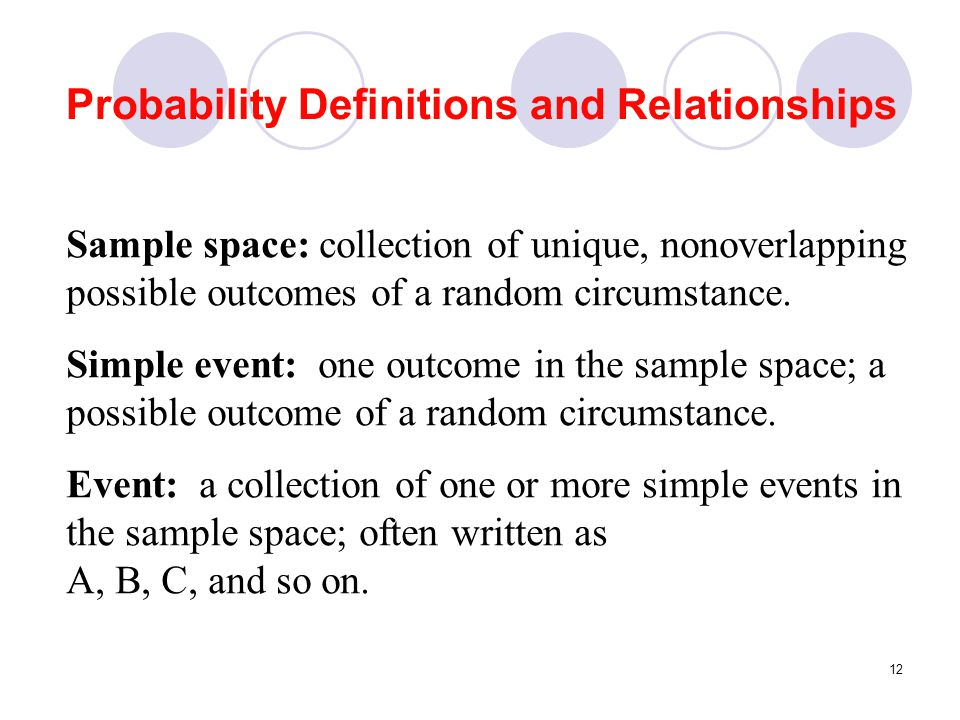 12 Probability Definitions and Relationships Sample space: collection of unique, nonoverlapping possible outcomes of a random circumstance. Simple eve
