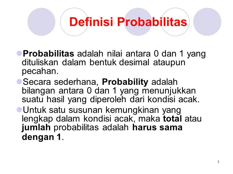 3 Definisi Probabilitas Probabilitas adalah nilai antara 0 dan 1 yang dituliskan dalam bentuk desimal ataupun pecahan. Secara sederhana, Probability a