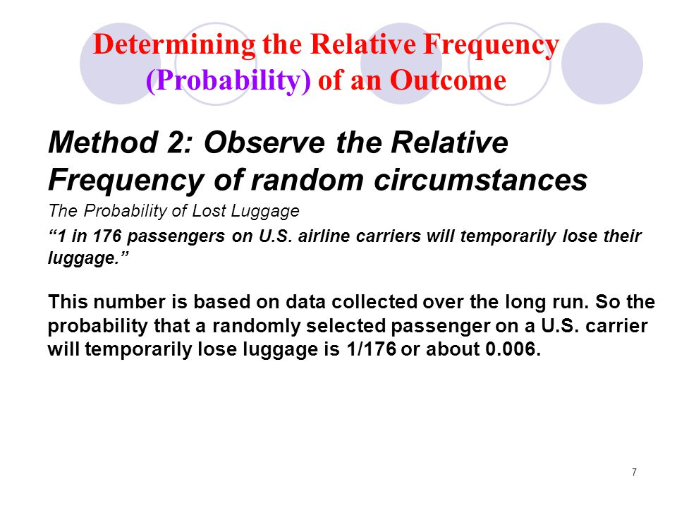 8 Proportions and Percentages as Probabilities Ways to express the relative frequency of lost luggage: The proportion of passengers who lose their luggage is 1/176 or about 0.006 (6 out of 1000).