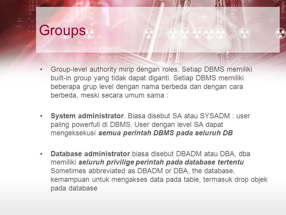 Groups Group-level authority mirip dengan roles. Setiap DBMS memiliki built-in group yang tidak dapat diganti. Setiap DBMS memiliki beberapa grup leve