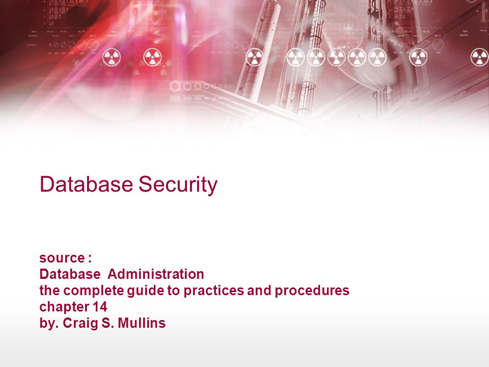 Database Security source : Database Administration the complete guide to practices and procedures chapter 14 by.