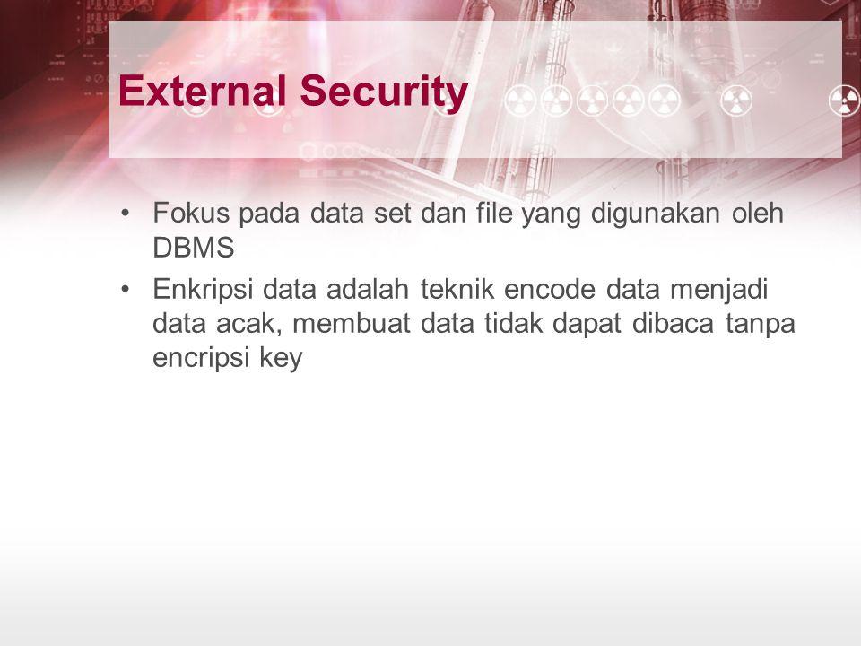 External Security Fokus pada data set dan file yang digunakan oleh DBMS Enkripsi data adalah teknik encode data menjadi data acak, membuat data tidak