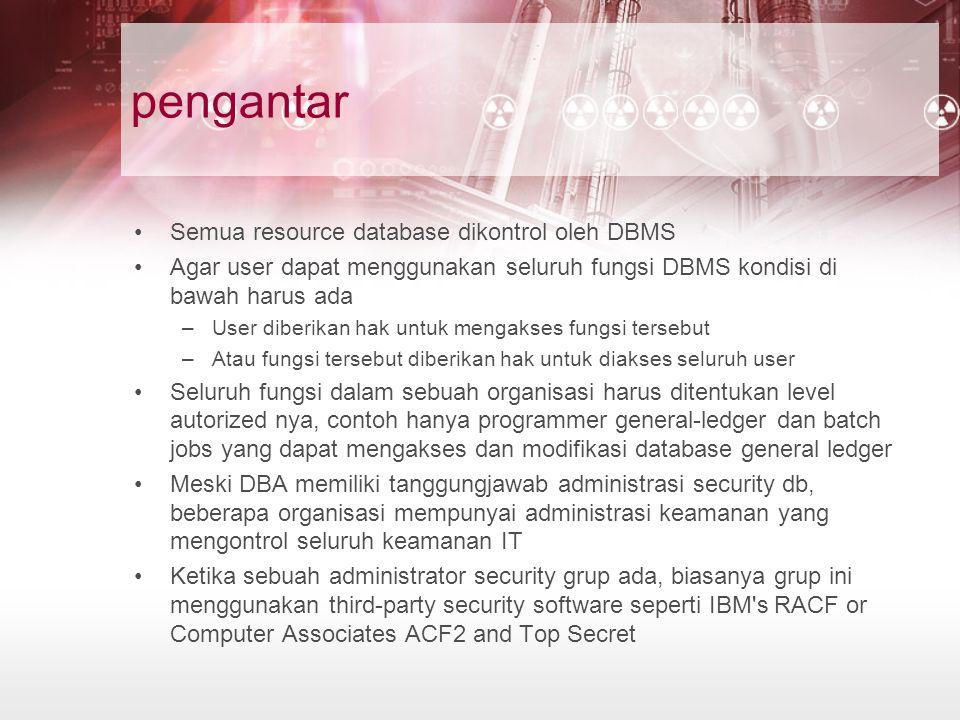pengantar Semua resource database dikontrol oleh DBMS Agar user dapat menggunakan seluruh fungsi DBMS kondisi di bawah harus ada –User diberikan hak untuk mengakses fungsi tersebut –Atau fungsi tersebut diberikan hak untuk diakses seluruh user Seluruh fungsi dalam sebuah organisasi harus ditentukan level autorized nya, contoh hanya programmer general-ledger dan batch jobs yang dapat mengakses dan modifikasi database general ledger Meski DBA memiliki tanggungjawab administrasi security db, beberapa organisasi mempunyai administrasi keamanan yang mengontrol seluruh keamanan IT Ketika sebuah administrator security grup ada, biasanya grup ini menggunakan third-party security software seperti IBM s RACF or Computer Associates ACF2 and Top Secret