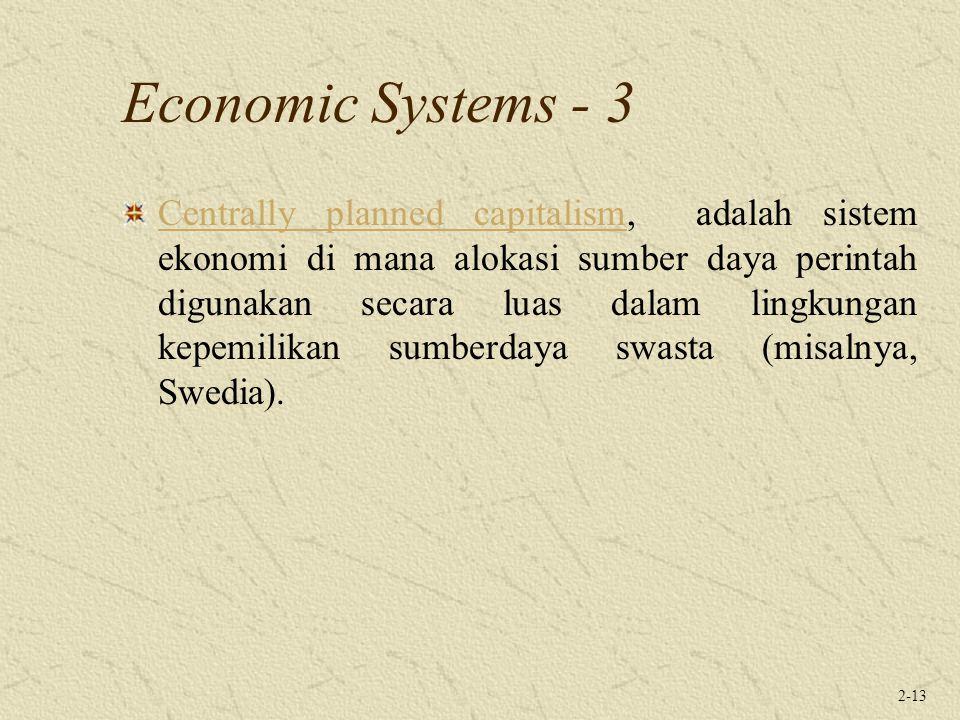2-13 Economic Systems - 3 Centrally planned capitalismCentrally planned capitalism, adalah sistem ekonomi di mana alokasi sumber daya perintah digunak